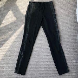 Club Monaco Black Leather Paneled Pants, Size 6